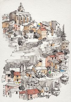 Architecture Drawing Discover Drawing Landscape Architecture Jorge Royan Gordes Pen and Watercolor.What makes this sketch great is the balanced combination of textures black focal points and color (which is the main guideline of the image). Art Inspo, Inspiration Art, Pen And Watercolor, Watercolor Paintings, Watercolor Journal, Drawing Sketches, Art Drawings, Amazing Drawings, Art Du Croquis