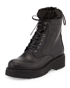 Nylon-Lined+Leather+Combat+Boot,+Black+by+Prada+at+Neiman+Marcus.