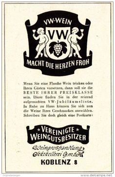 Original-Werbung/ Anzeige 1951 -  VW - VEREINIGTE WEINGUTSBESITZER KOBLENZ - ca. 65 x 110 mm