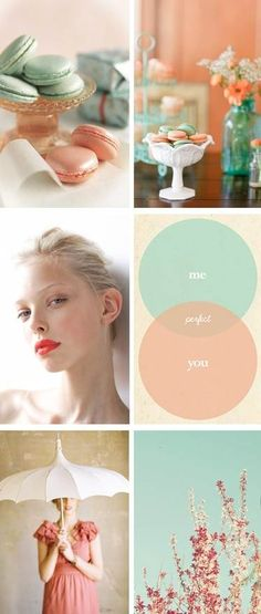 seafoam & coral wedding color inspiration, except no french macarons, because they're way expensive and gross.