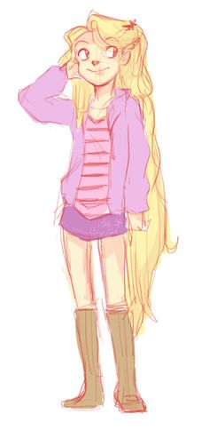 I wanted to try drawing Rapunzel in modern clothing. I dunno she became a hipster or something. hjgdhakhj. sorry.