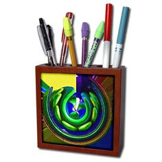 Amazon.com : Jos Fauxtographee- Polar Coordinate - A column in Vegas on a building in a twirled design in blue and green - 5 inch tile pen holder (ph_203799_1) : Office Products