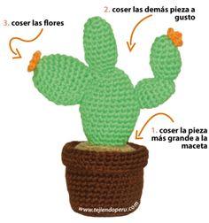 tutorial Cactus nopal con flores amigurumi