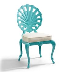 Shell Side Chair with Cushion; Love. •Sturdy sandcast aluminum frames •Durable powder-coated finish •Included chair cushion upholstered in Sunbrella ® Natural