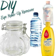 Eye Make-Up Remover (using only 3 ingredients)  NO irritation to my eyes at all! Also I found a jar that fits the make up flat round cotton pads. Then added the mixture to it, so I just need to grab one already pre soaked and wipe.