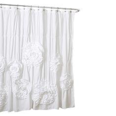 Lush Décor Serena Flower Texture Shower Curtain : Target