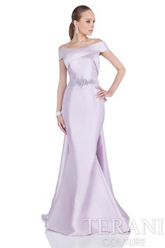 Sophisticated mother of the bride dress with criss cross off the shoulder straps, trumpet skirt, finished with half bow back leading into split trains.