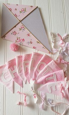 CHARLOTTE - Baby girl kite nursery decor. Pink and grey nursery decor.   Baby shower gift for a baby girl.     Fabric covered kite wall hanging with ribbon string and personalised bunting.   Available in our ETSY shop.