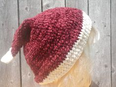 Crochet Santa hat Santa's hat free USA shipping by CrochetByMel #Santahat #Christmas #etsy #vintageinspired #hat #winterhat