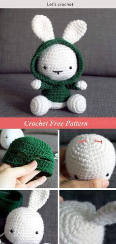 Crochet Amigurumi Rabbit Design Cute Bunny in the Hood Crochet Free Pattern Crochet Hood, Crochet Bunny, Cute Crochet, Crochet Rabbit Free Pattern, Crochet Patterns Amigurumi, Crochet Dolls, Pattern Cute, Hood Pattern, Easy Crochet Projects
