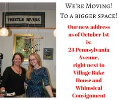 Bigger space - more classes- more beads. #thistlebeads #moving #niantic