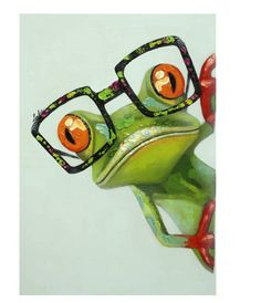 painting of frog with glasses - Bing images Animal Paintings, Animal Drawings, Art Drawings, Funny Paintings, Funny Frogs, Cute Frogs, Art Fantaisiste, Frog Pictures, Funny Pictures