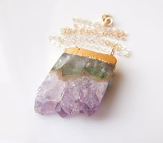 Amethyst Druzy Necklace : February Birthstone, Similar Featured in an Etsy Newsletter #amethyst #etsyjewelry #myetsy #raw #amethyst #druzy #drusy #geode #necklace #jewelry