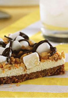 """Rocky Road """"Pizza"""" — Is it a flat pie? A triangular cookie? An updated version of s'mores? No matter. They'll like this scrumptious dessert pizza recipe no matter what you call it!"""