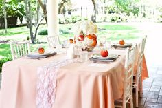 Peach Wedding Theme Table