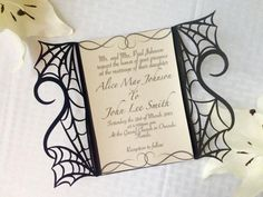 This is an amazing cut spider web and heart gate wedding invitation. This unique cut paper pattern is cut so that the gothic spider webs hold up half a heart on each side that will be complete a full heart once the gate is closed. It is the perfect invitation for that Halloween or gothic wedding. This listing is for one invitation including a gatefold, the interior printable shimmer paper and a white plain envelope. The printing shown on in the picture is an example only we do not offer…