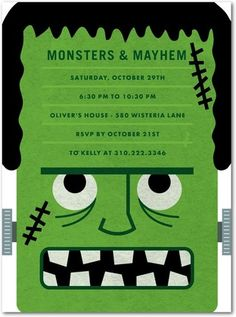 It's all about the monster with this Halloween party invitation.
