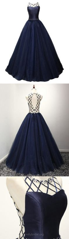 Dark Navy Prom Dresses Ball Gown, Long Party Dresses Scoop Neck, Satin Formal Evening Dresses Modest Tulle Beading