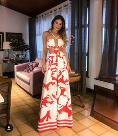 Women New Fashion 2018 Open Back Vintage Boot Cut Red Jumpsuit Print Halter Backless Wide Leg Jumpsuit Fashion 2018, Women's Fashion Dresses, Boho Fashion, Fashion Looks, Womens Fashion, Street Fashion, Classy Outfits, Cute Outfits, Summer Outfits