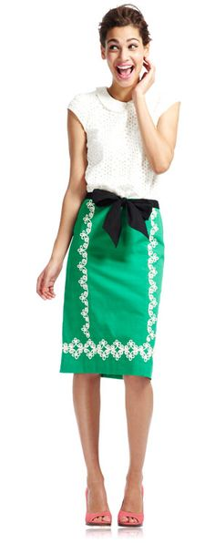 Fashion inspiration: green & White w/pink. plus, black bow