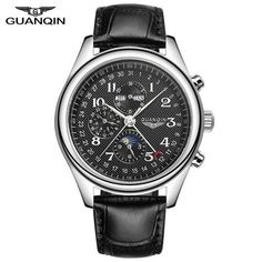 Men's Classic Stainless Steel Wristwatch with Leather Strap
