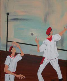 tableau peinture acrylique Pelotaris en Pays-basque : Peintures par kurtcreations