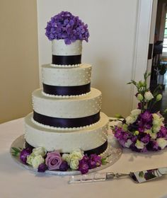 Purple hydrangeas, white spray roses, lavender roses and purple stock decorate this wedding cake. Purple Hydrangea Wedding, Purple Hydrangeas, Lavender Roses, Wedding Flowers, White Spray Roses, Wedding Stuff, Wedding Cakes, Floral, Inspiration
