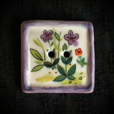 Ceramic Button: Square Ceramic Button Purple Framed Floral by vika on Etsy, $17.00 || Translucent porcelain, vintage decal...shabby chic vintage look.