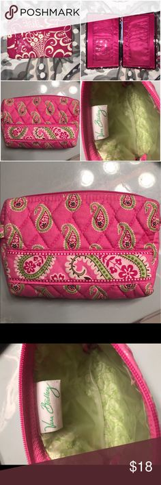 Vera Bradley bundle One wallet one make up bag , make up bag lined for easy cleaning , wallet has bill insert behind cards on one side and swinging card sleeve on the other Vera Bradley Bags Wallets