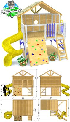 Petite Retreat Clubhouse Plan - An open space play-set design. Features instructions to build a rock wall and ship ladder. Kids Outdoor Play, Outdoor Play Areas, Kids Play Area, Outdoor Fun, Room Kids, Outdoor Playhouse For Kids, Kids Swingset Ideas, Backyard Play Areas, Kids Playset Outdoor
