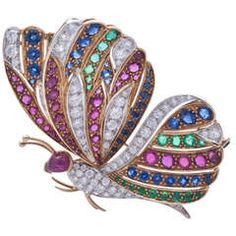 1950' Italian manifacture gold, diamonds and precious stones butterfly brooch