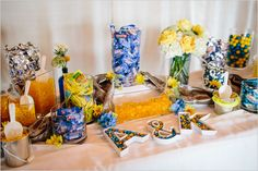 blue and yellow candy bar