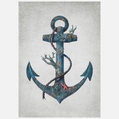 Lost at Sea - colour option Art Print by Terry Fan - X-Small Terry Fan, Canvas Art, Canvas Prints, Art Prints, Canvas Size, Tattoo Kind, Lost Tattoo, Hipster Vintage, Retro Vintage