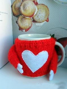 St. Valentine's day , Mug cozy Heart, Cup Love Sleeve, Red / Pink Cup Pullover, Knitted Gift, MUG COZY is wonderful thing, Gift for Lover by VioletaOwl on Etsy