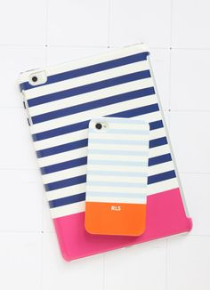 Colorblock Stripe Monogrammed iPhone and by PencilShavingsStudio, $40.00 Love the navy and pink!