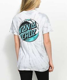 Add some chill vibes to your laid back style, with the Wave Dot Spider Silver Tie Dye T-Shirt from Santa Cruz. A classic Santa Cruz design, with a grey and white tie dye pattern throughout, and matching logo graphics at the left chest and back. Camisa Guess, Santa Cruz Clothing, Santa Cruz Shirt, Skater Girl Outfits, Tie Dye T Shirts, Summer Shirts, Ladies Dress Design, Cute Shirts, Trendy Outfits