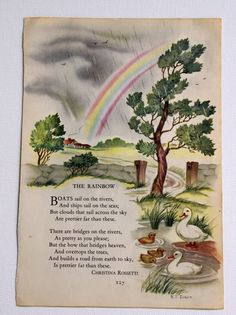 Vintage children's Rainbow illustration and poem by Christina Rossetti. Illustration saved from The Childcraft Book of Poetry, copyright 1949, with a poem by Christina Rossetti. The artist is R. T. Dixon.