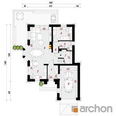 Projekt domu Dom w rukoli 4 - ARCHON+ Cute House, House Plans, Floor Plans, How To Plan, Villa, American Houses, Planters, Haus, Home Plans