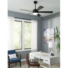 Modern Forms Wynd 5 Blade LED Smart Ceiling Fan with Remote Light Kit Included Fan Strength: Color Temperature: Finish: Matte Black 60 Ceiling Fan, Ceiling Fan With Remote, Sloped Ceiling, Home Tech, Transitional Style, Small Rooms, Smart Home, All Modern, Indoor