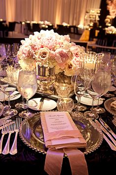 blush and cream wedding centrepiece
