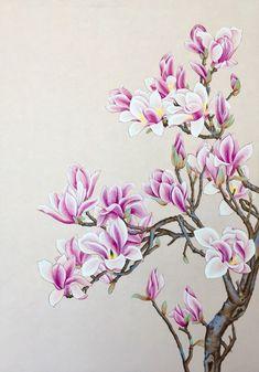 부산채색화/부산취미미술/부산화실/부산한국화화실 : 네이버 블로그 Painting Prints, Watercolor Paintings, Cherry Blossom Art, Sharpie Art, Sharpie Doodles, Beautiful Flower Tattoos, Composition Art, Botanical Drawings, Flower Drawings