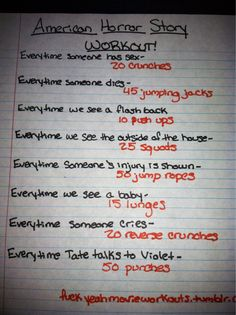American Horror Story workout!  Want to see more workouts like this one? Follow us here.