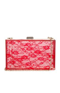 Lace Print Lucite Box Clutch in Red | DAILYLOOK