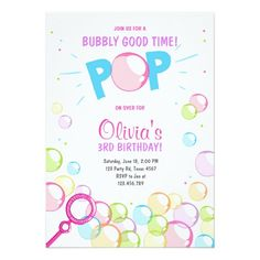 Bubble Birthday Party Invitation POP Birthday Girl