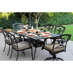 Darlee Ten Star Antique Bronze Cast Aluminum x Rectangular Outdoor Dining Table With 6 Sesame Cushioned Chairs (Antique Bronze), Black, Size Sets, Patio Furniture Outdoor Dining, Outdoor Tables, Dining Table, Patio Dining, Outdoor Decor, Outdoor Pool, 7 Piece Dining Set, Dining Sets, Patio Bar Set