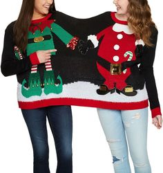 17ec2fedda9f Holiday Time Womens Embellished Double Two Person Not Ugly Holiday  Christmas Sweater Elf and Santa Claus Elf/Santa Double Large/XLarge * More  info could be ...