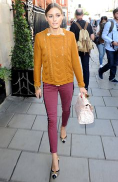 nice idea: use two pins at the color of a simple cable sweater to change up the neckline.  Street Style London Fashion Week Spring 2013 Photo 1