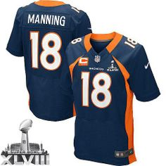 (Elite Nike Men s Peyton Manning Navy Blue C Patch Jersey) Denver Broncos  Alternate NFL Easy Returns. e479062f8