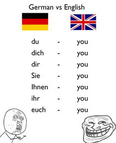Luckily we Germans do not have to learn German! This is how the Internet laughs … - German Language Good Jokes, Funny Jokes, Hilarious, English Jokes, English English, German Humour, German Quotes, German Language Learning, German Words