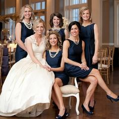 Navy and Pearl Hostess Looks